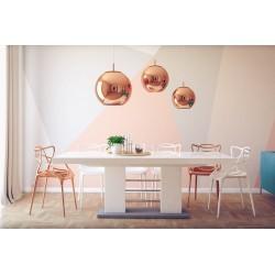 Luxusný rozkladací jedálenský stôl LINOSA 2 biela vysoký lesk