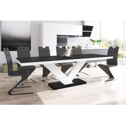 Luxusný rozkladací jedálenský stôl VICTORIA MAT (čierna matná/biela/čierna matná)