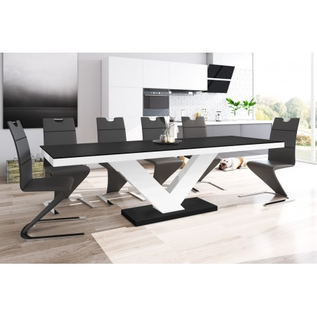 Luxusný rozkladací jedálenský stôl VICTORIA MAT čierna matna/biela