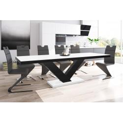 Luxusný rozkladací jedálenský stôl VICTORIA MAT (biela matná/čierna/biela matná)