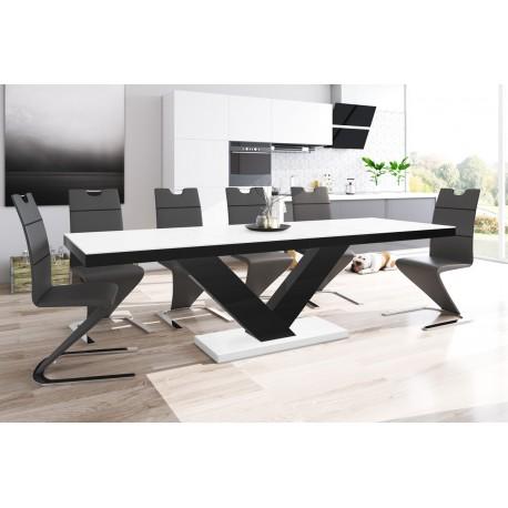 Luxusný rozkladací jedálenský stôl VICTORIA MAT biela matna/cierna