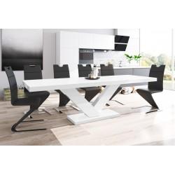 Luxusný rozkladací jedálenský stôl VICTORIA MAT biela matná/biela