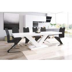 Luxusný rozkladací jedálenský stôl VICTORIA biely vysoky lesk