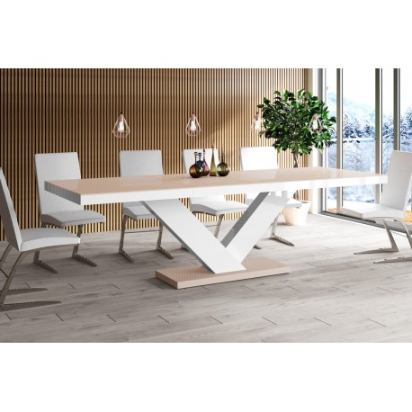Luxusný rozkladací jedálenský stôl VICTORIA cappucino vysoky lesk
