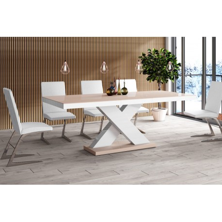 Luxusný rozkladací jedálenský stôl XENON cappucino/biela /cappucino