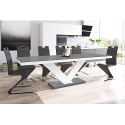 Luxusný rozkladací jedálenský stôl VICTORIA MAT sivá matná/biela