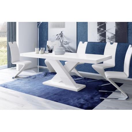Luxusný jedálenský stôl XENON (biela / čierna / biela)