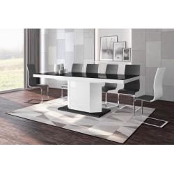 Luxusný rozkladací jedálenský stôl AMIGO (čierna /biela/čierna)