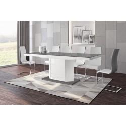 Luxusný rozkladací jedálenský stôl AMIGO (šedá /biela/šedá)