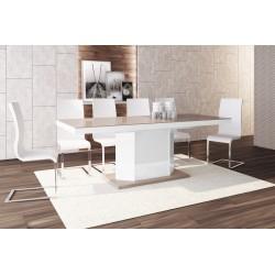 Luxusný rozkladací jedálenský stôl AMIGO (cappucino/biela/cappucino)