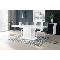 Luxusný rozkladací jedálenský stôl AMIGO (biela /biela)