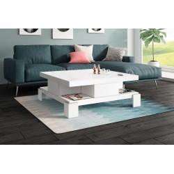Luxusný konferenčný stolík Hubertus SALINA biela vysoký lesk