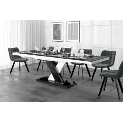 Luxusný rozkladací jedálenský stôl XENON LUX LESK čierna vrch /čierno biela noha