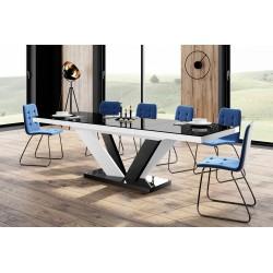Luxusný rozkladací jedálenský stôl VIVA 2 LESK čierna vrch /čierno biele nohy/čierny podstavec