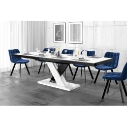 Luxusný rozkladací jedálenský stôl XENON LUX LESK biely vrch/čierno biele nohy/čierny podstavec