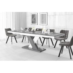 Luxusný rozkladací jedálenský stôl XENON LUX LESK šedý vrch-šedo biele nohy