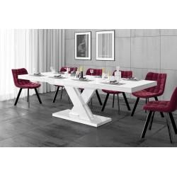 Luxusný rozkladací jedálenský stôl XENON LUX LESK biely
