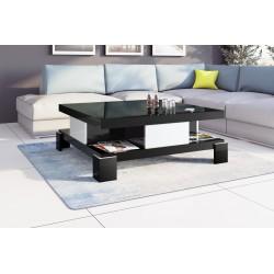 Luxusný konferenčný stolík SALINA čierny, vysoký lesk, biele doplnky