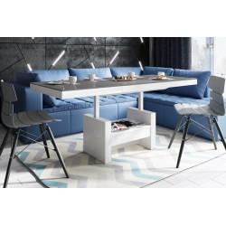 Luxusný rozkladací konferenčný stolík AVERSA LUX šeda/biela lesk