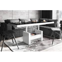 Luxusný rozkladací konferenčný stolík AVERSA LUX čierno biela lesk
