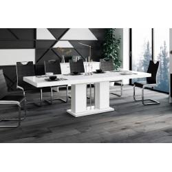 Luxusný rozkladací jedálenský stôl LINOSA šeda vysoký lesk