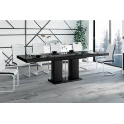Luxusný rozkladací jedálenský stôl LINOSA čierna vysoký lesk