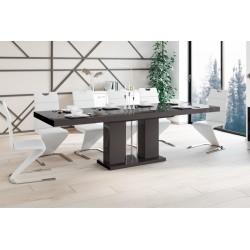 Luxusný rozkladací jedálenský stôl LINOSA hneda vysoký lesk