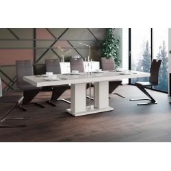 Luxusný rozkladací jedálenský stôl LINOSA cappucino vysoký lesk