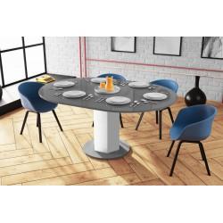 Luxusný rozkladací jedálenský stôl ORDEO šeda/biela LESK