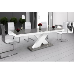 Luxusný rozkladací jedálenský stôl XENON (šedá / biela / šedá)