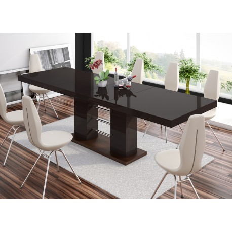 Luxusný jedálenský stôl Hubertus LINOSA 2-hnedá vysoký lesk