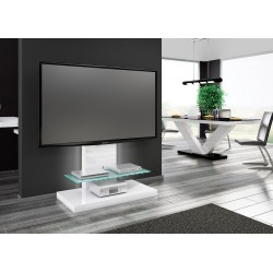 TV stolík / stojan s LED podsvietením Marino Max biela lesk