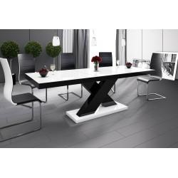 Luxusný jedálenský stôl XENON (biela /čierna/biela)