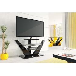 TV stolík / stojan LUNA vysoký lesk čierna
