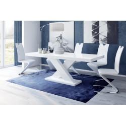 Luxusný rozkladací jedálenský stôl XENON biela vysoký lesk DODANIE 24hod