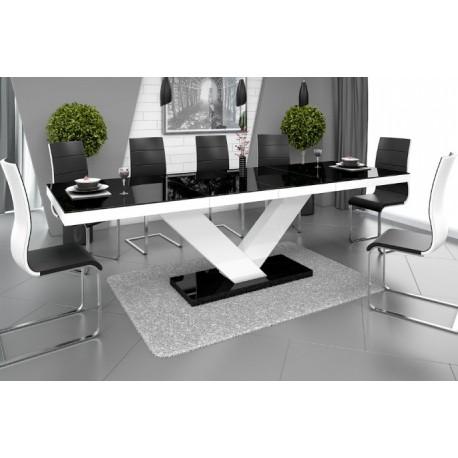 Luxusný rozkladací jedálenský stôl VICTORIA čierna/biela/čierna