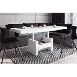 Luxusný rozkladací konferenčný stolík AVERSA LUX MATNÝ biela
