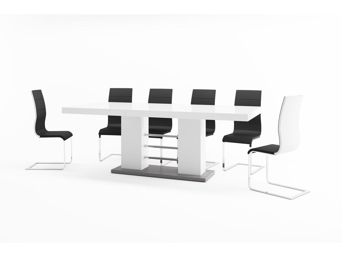 8fa0725ce1f60 ... Luxusný rozkladací jedálenský stôl LINOSA 2 biela vysoký lesk ...